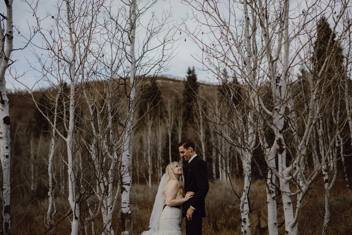 A wedding photo with Aspen trees