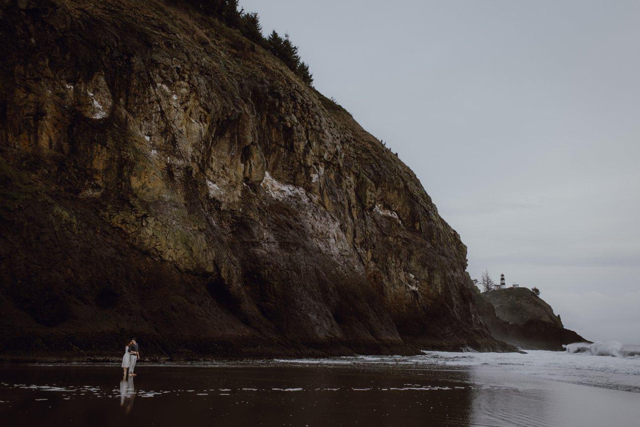 Oregon coast lighthouse engagement photo by Portland Wedding Photographers