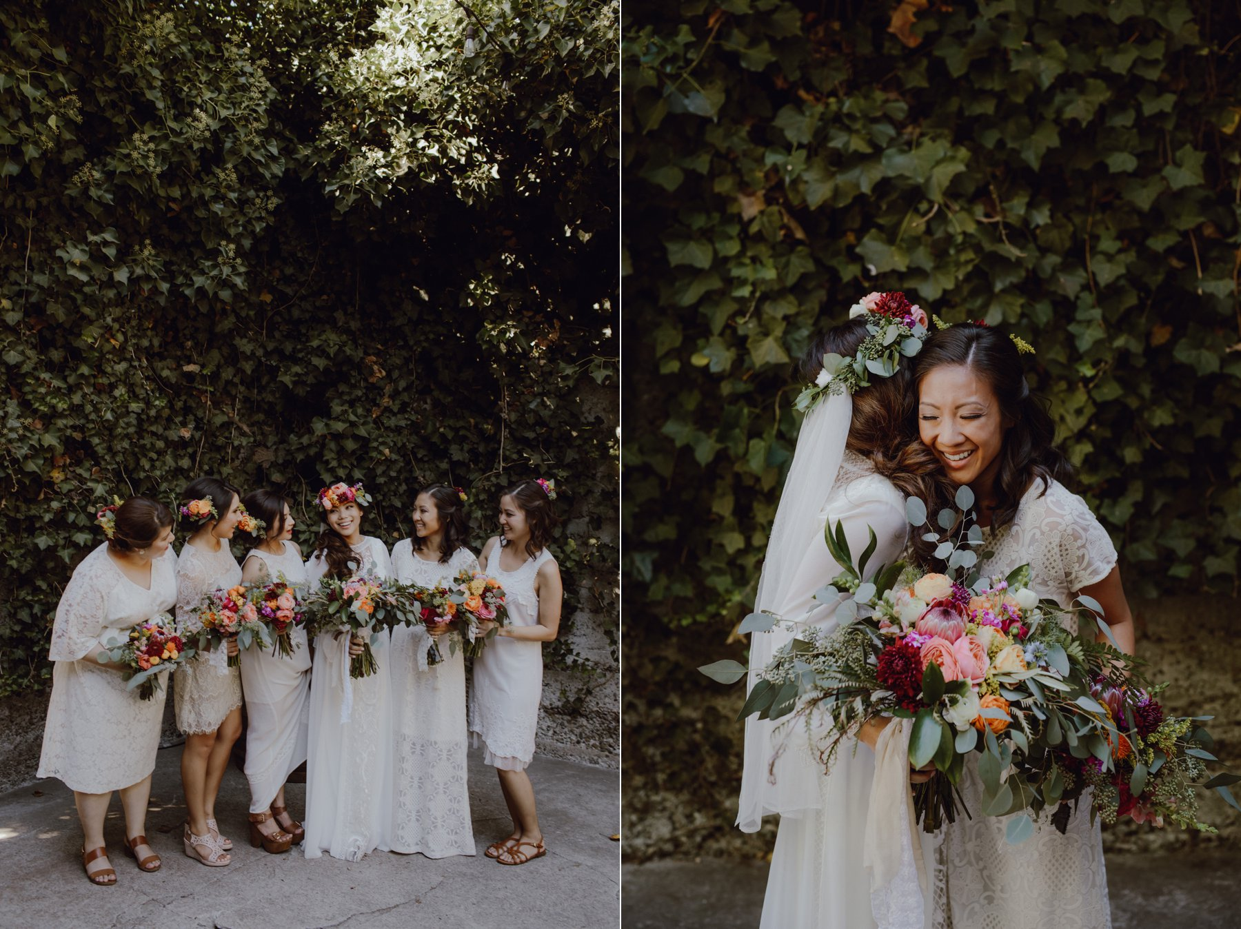 Bridesmaids in white and cream inspiration