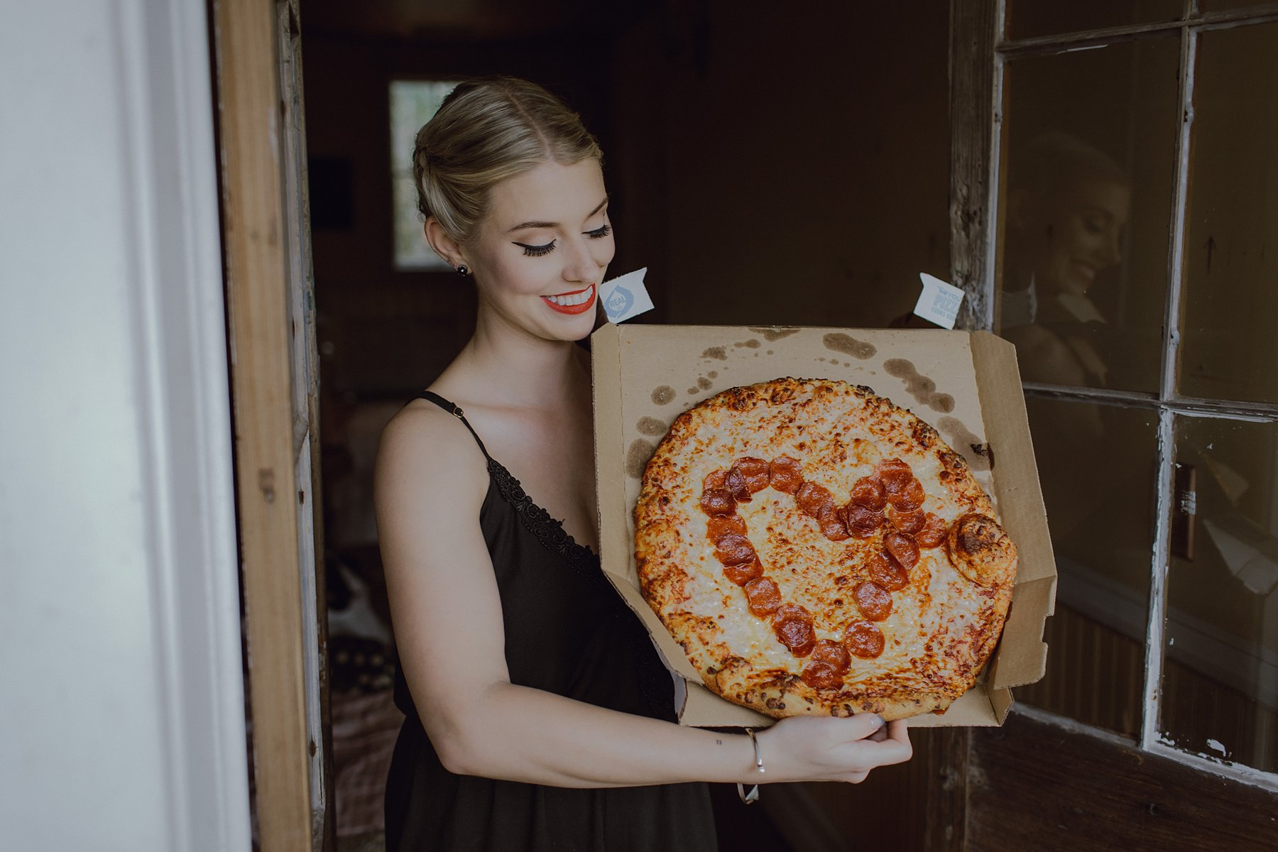A bride with a heart pizza