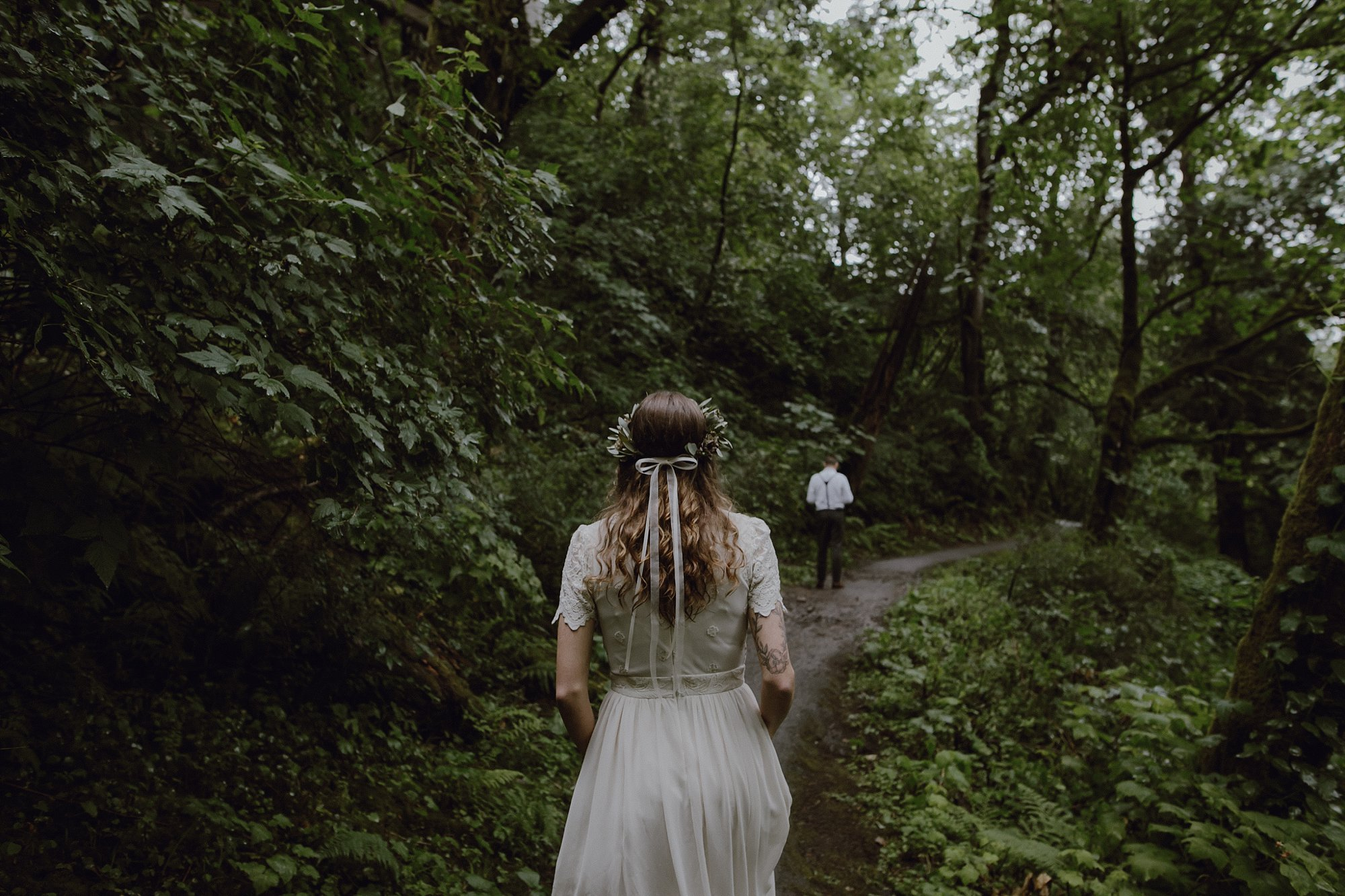 First look for the bride and groom at their Latourell Falls wedding.