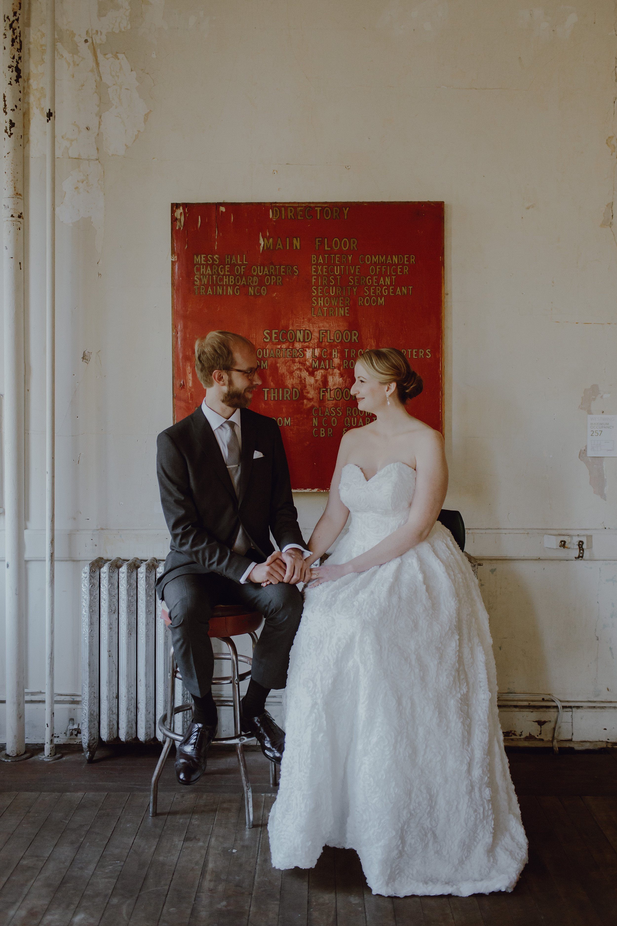 A bride and groom photo at their wedding at Headlands Center for the Arts