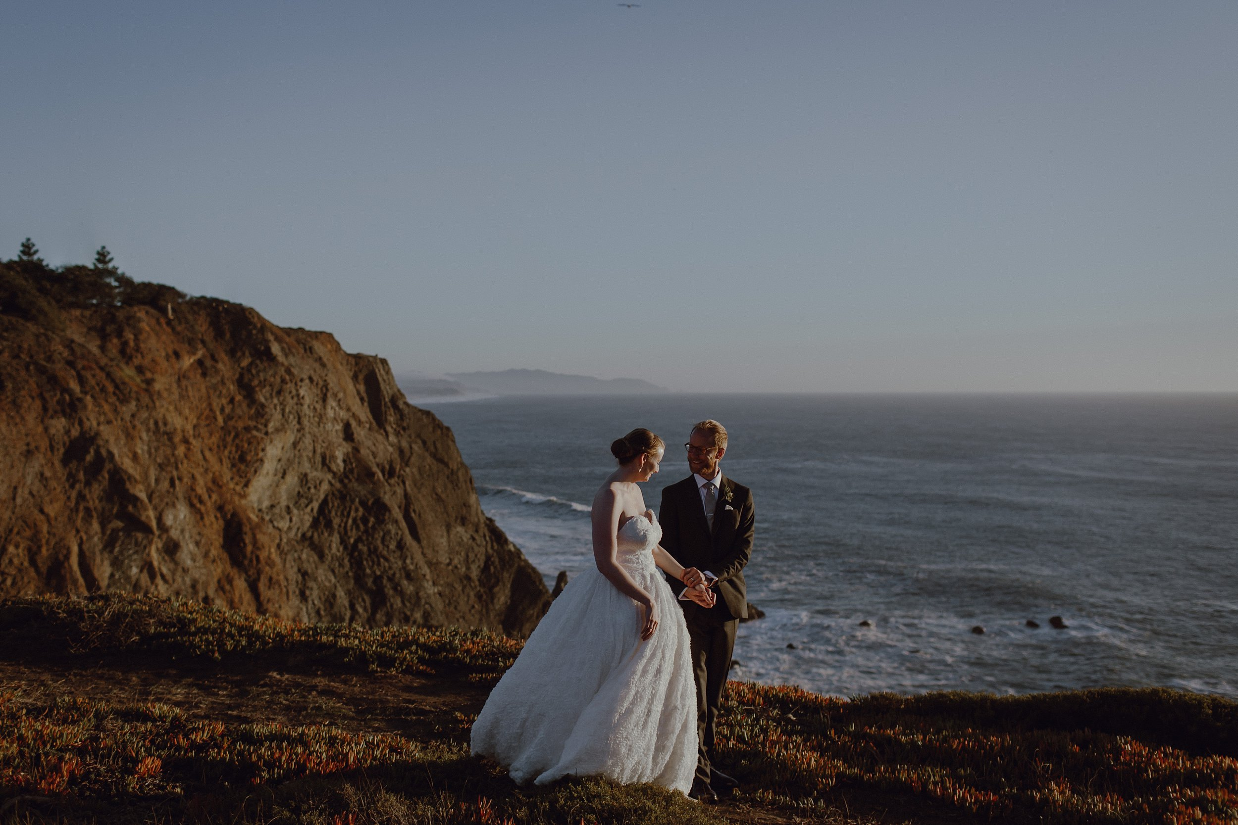 The bride and groom at their Headlands Center for the Arts wedding