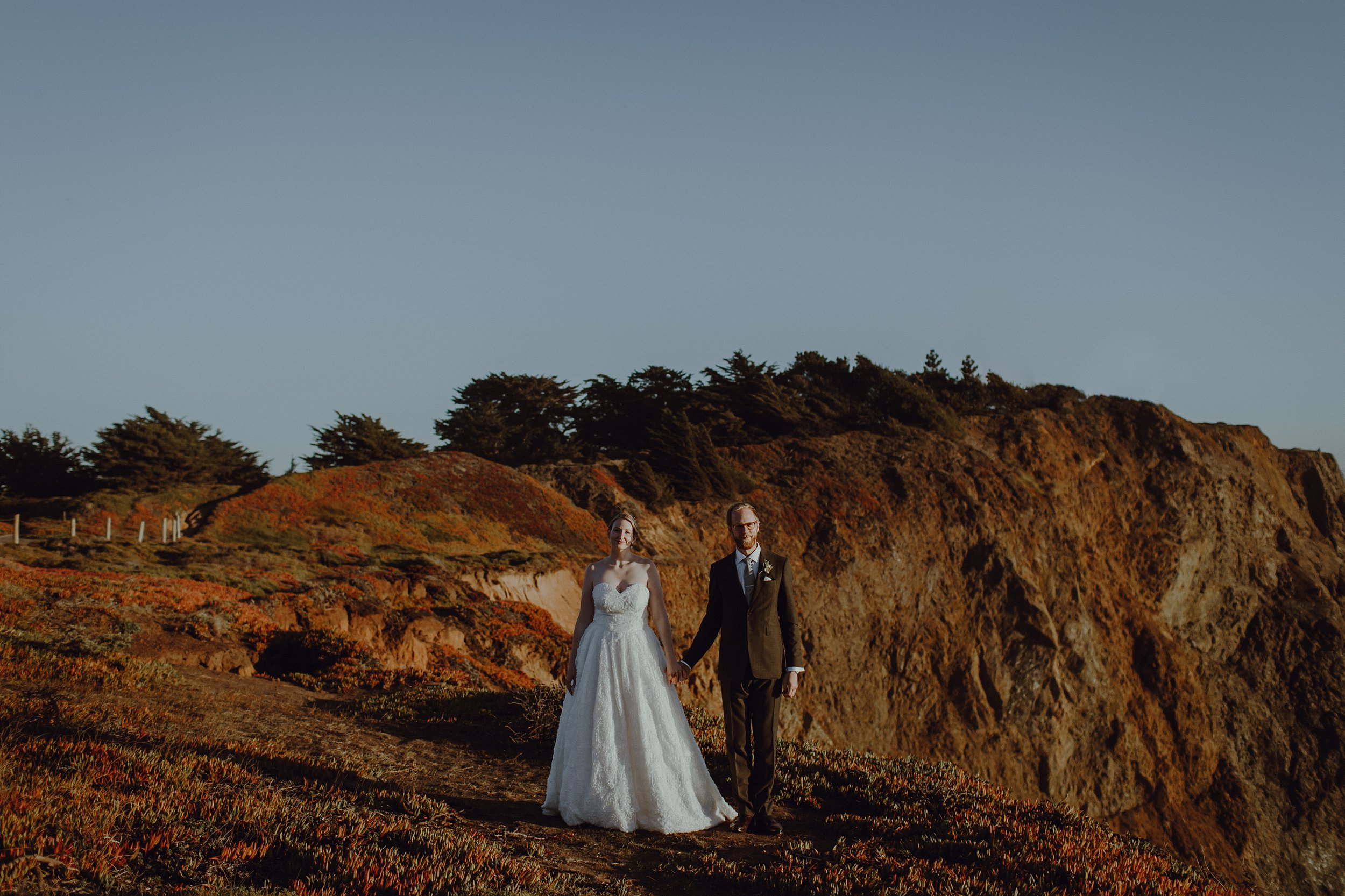 A bride and groom portraits at the Marin Headlands