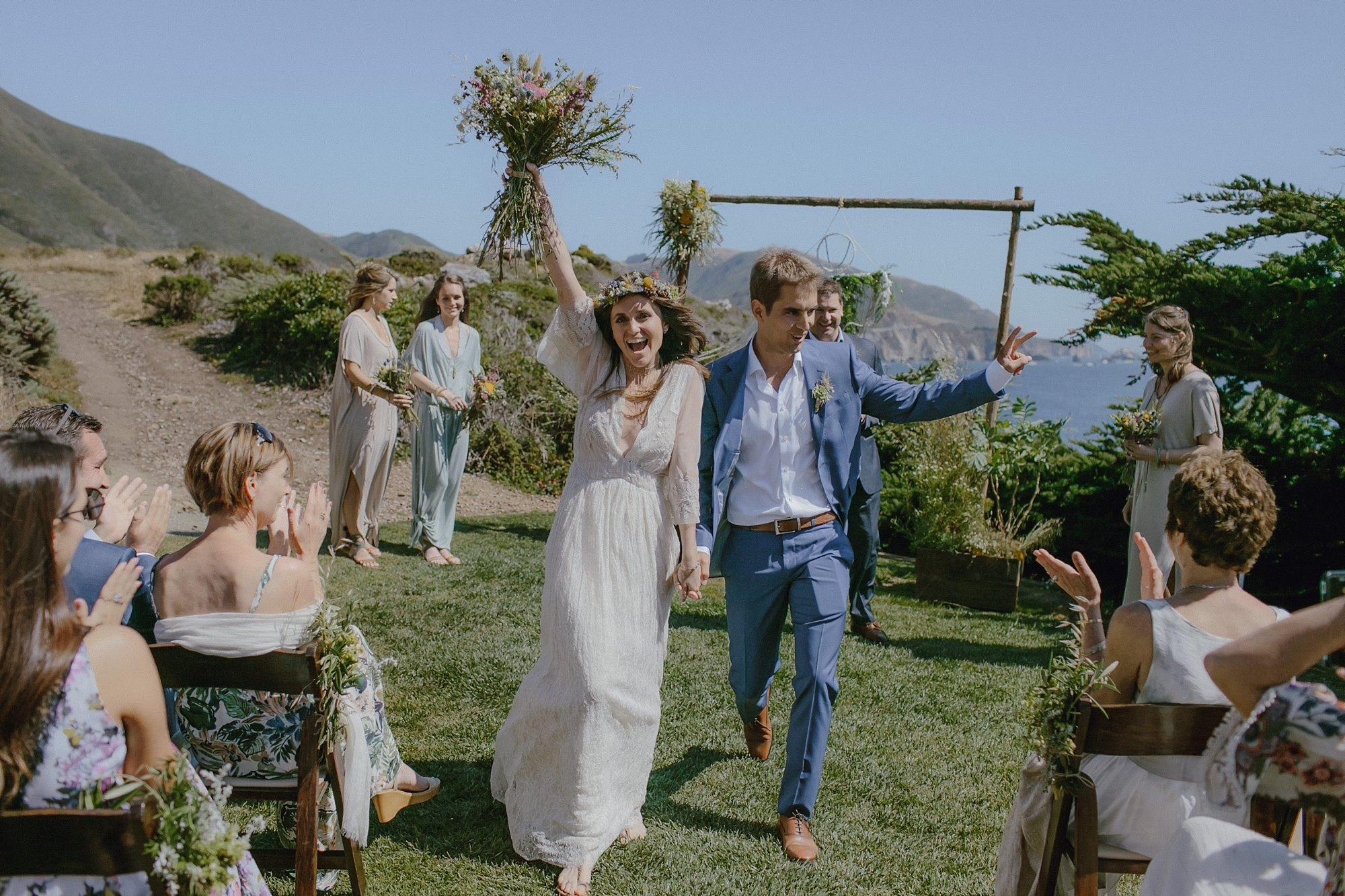 The bride and groom are married in Big Sur
