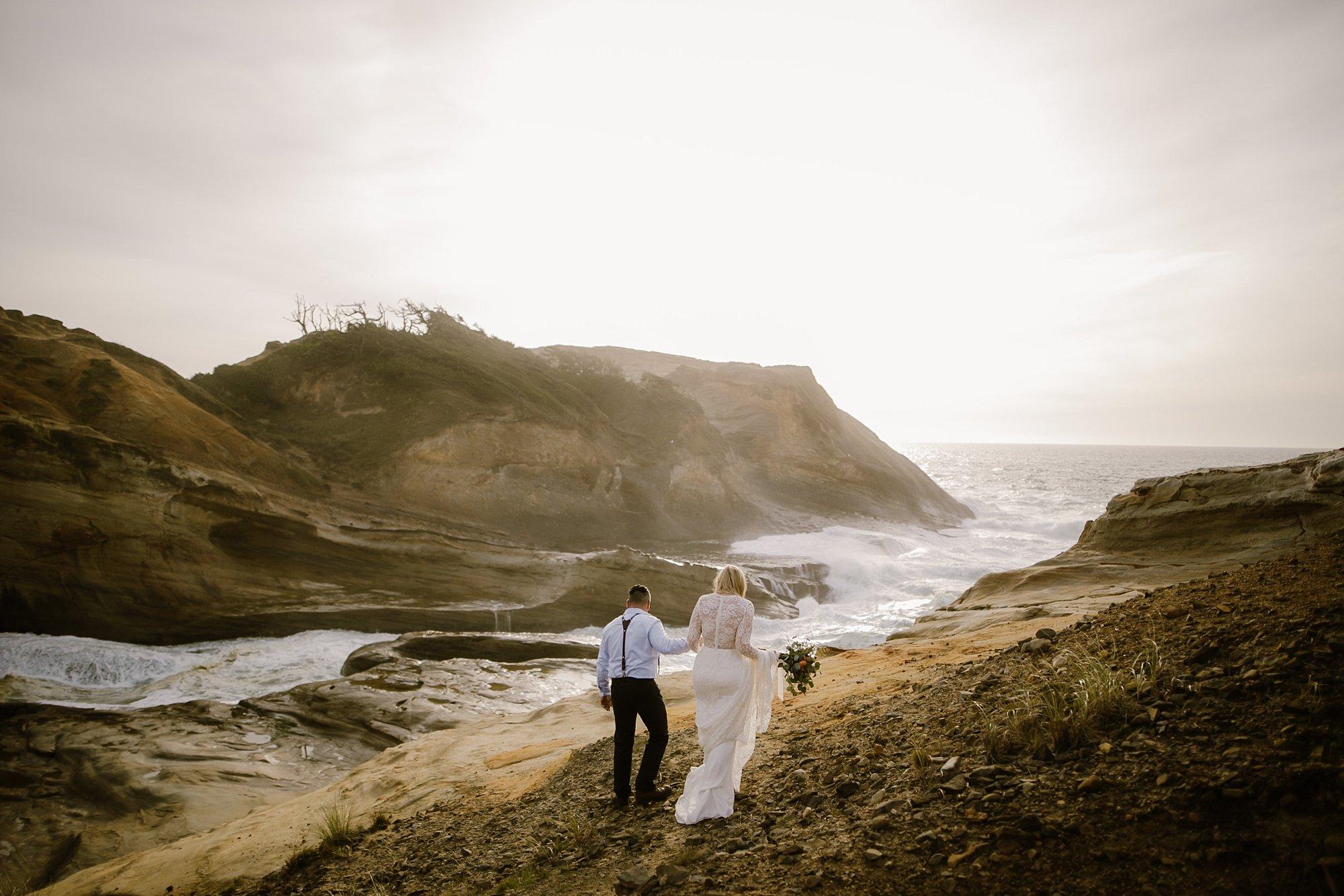 A beach elopement wedding photo at Cape Kiwanda