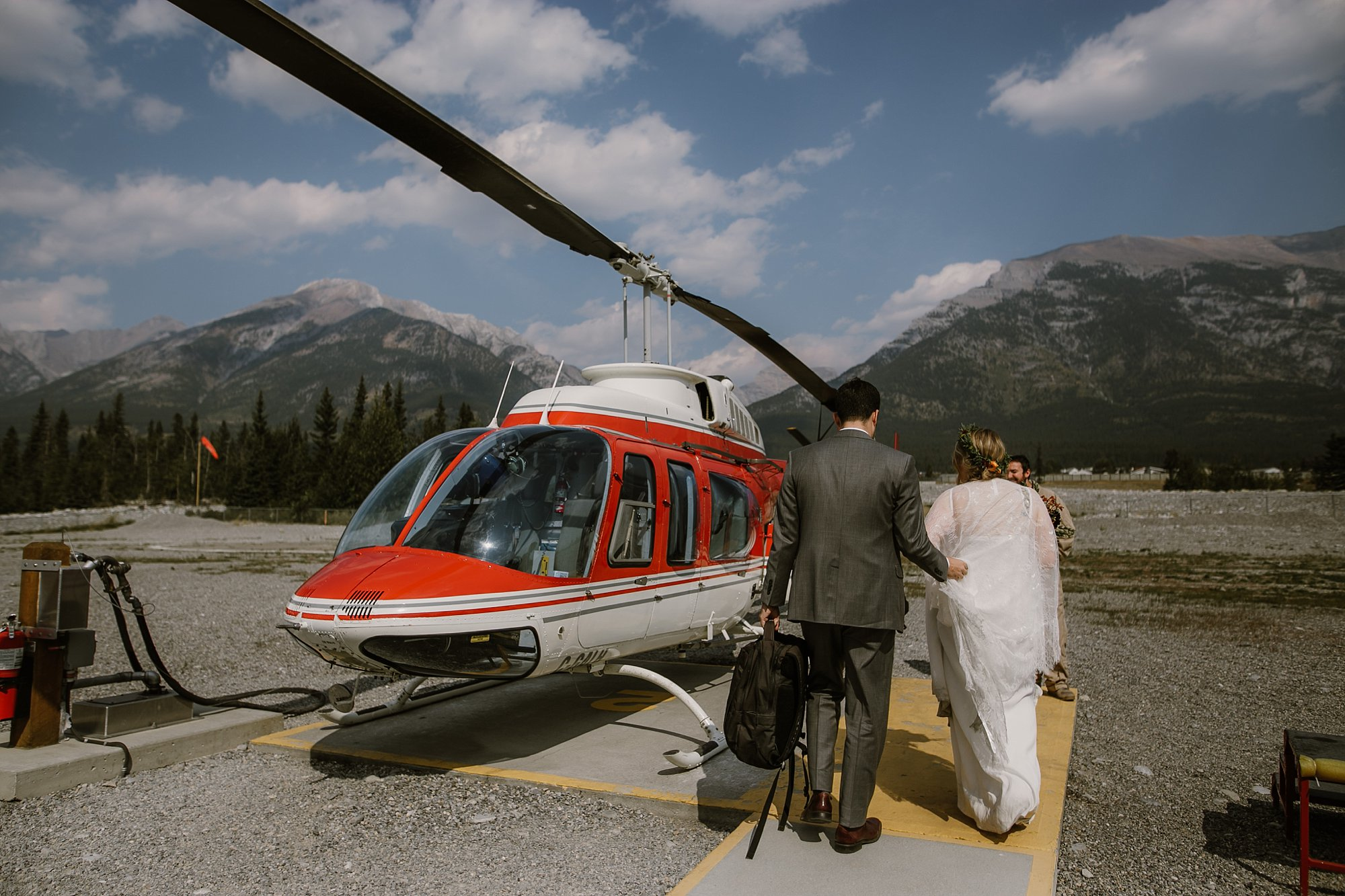 Helicopter wedding in Banff National Park