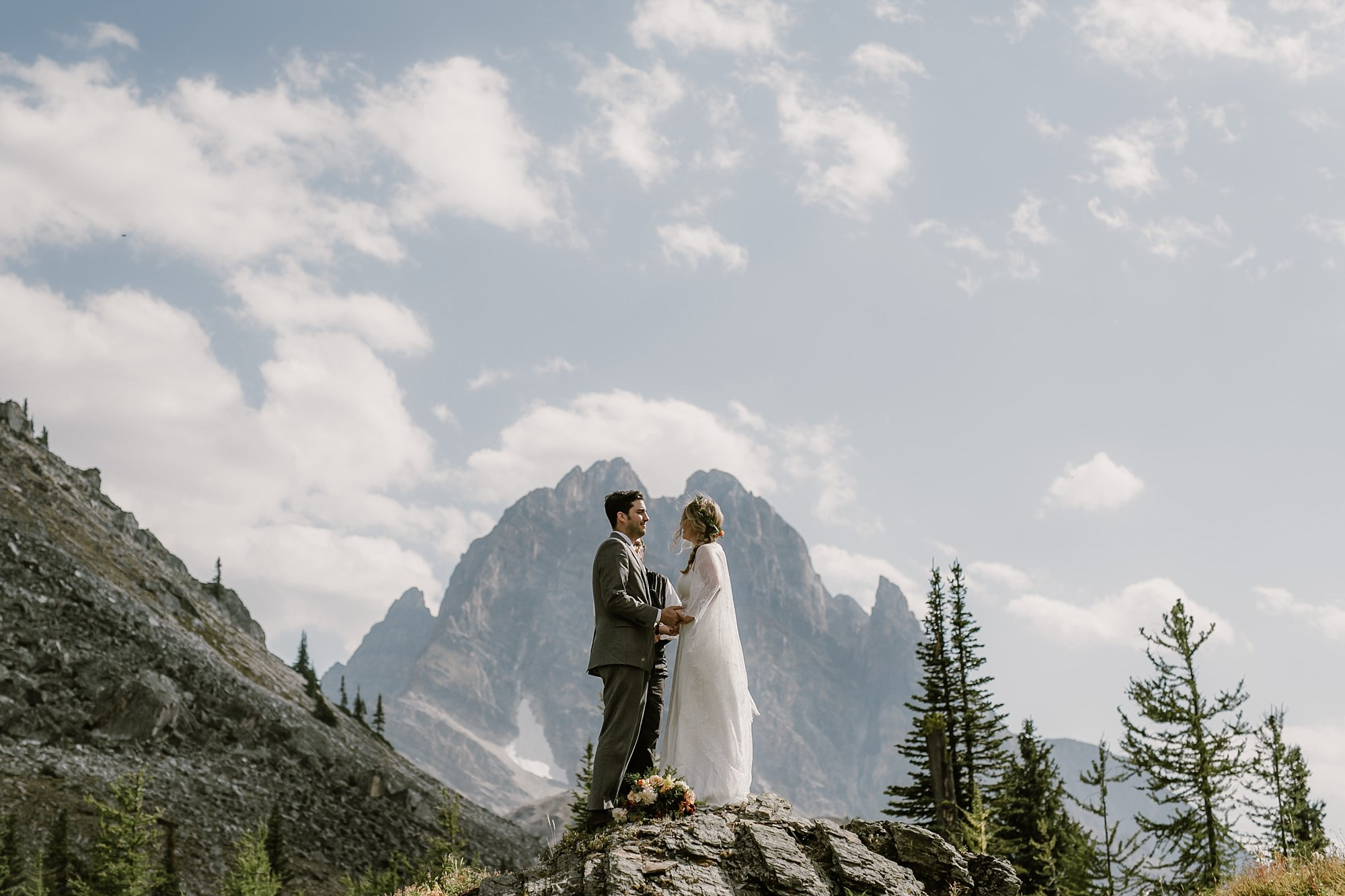A wedding ceremony in Banff National Park