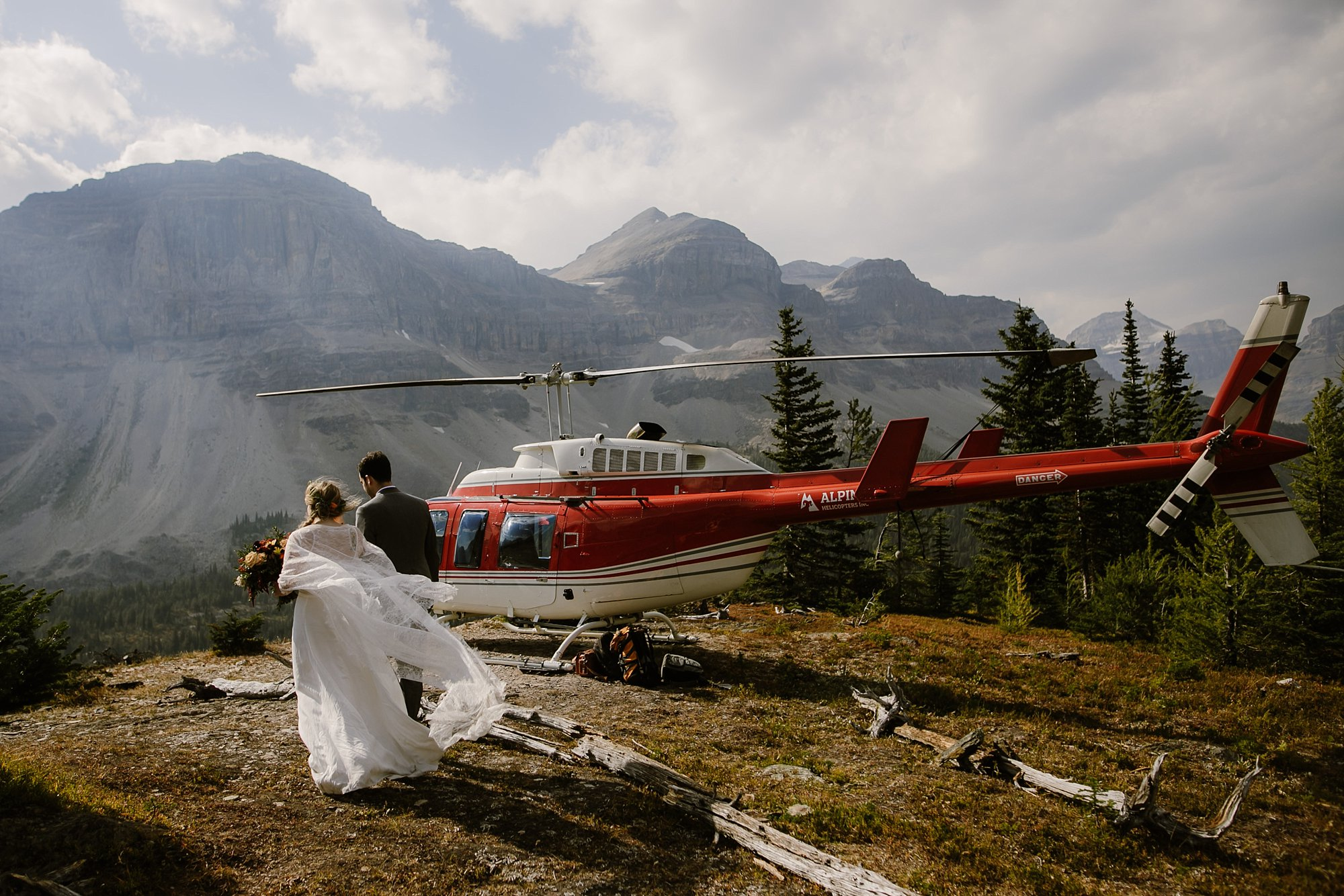 Helicopter elopement wedding in Banff National Park