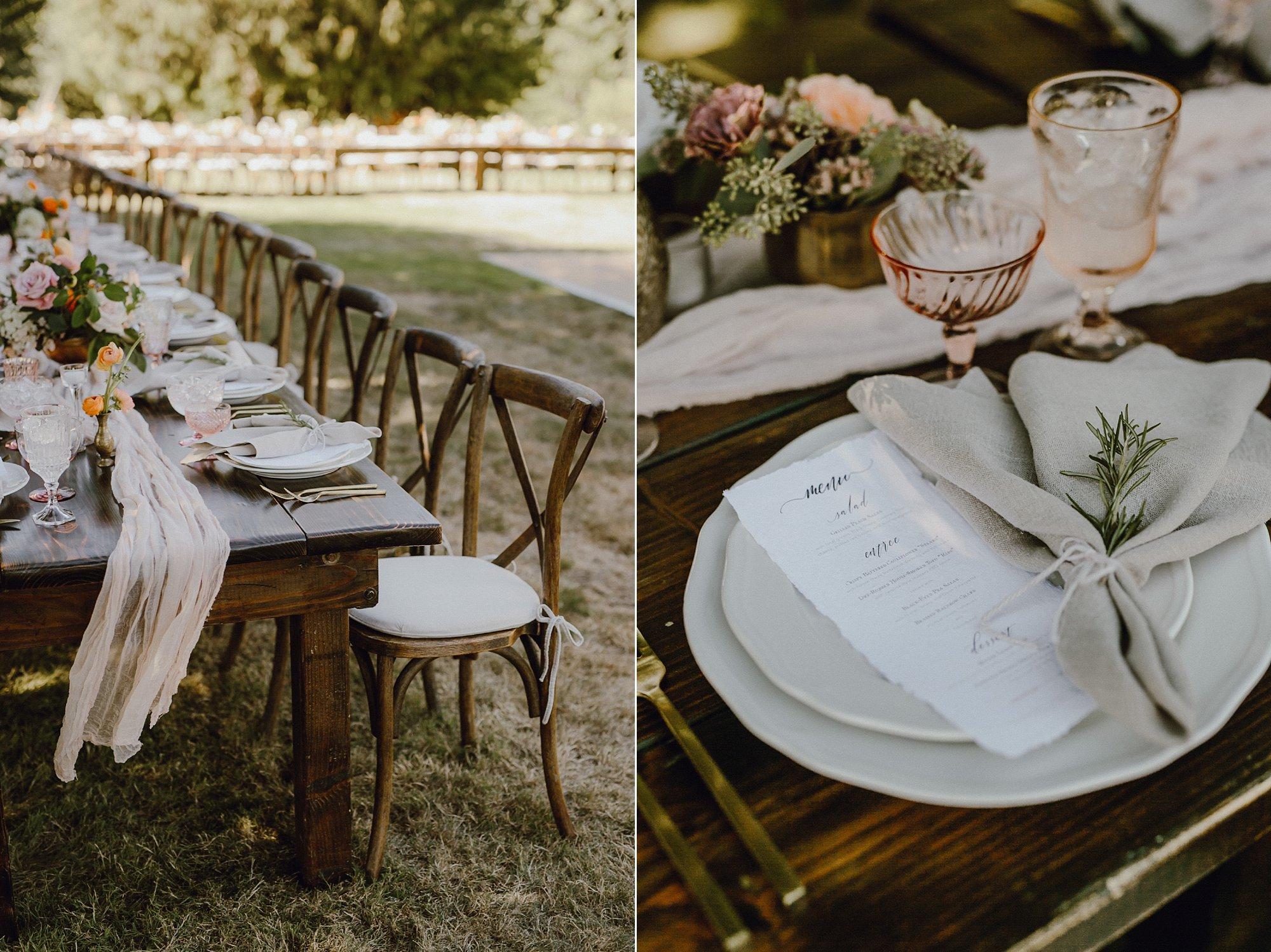 Oregon bohemian pink wedding reception decor