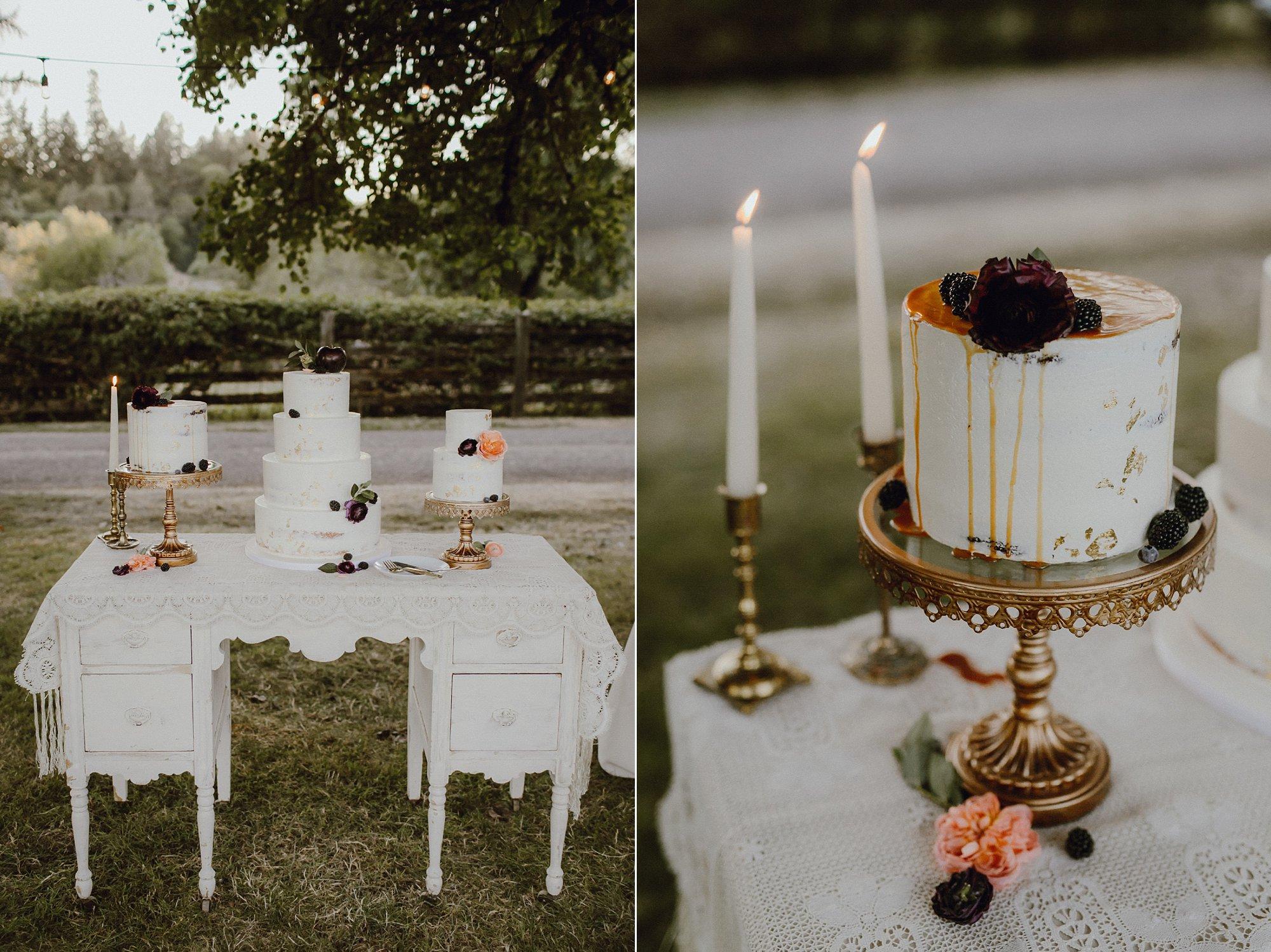 Oregon wedding cake table inspiration