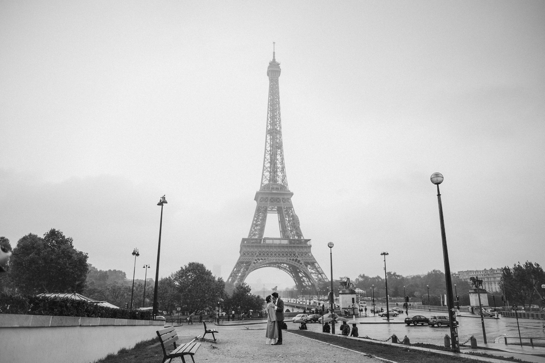 A wedding photo with the Eiffel Tower