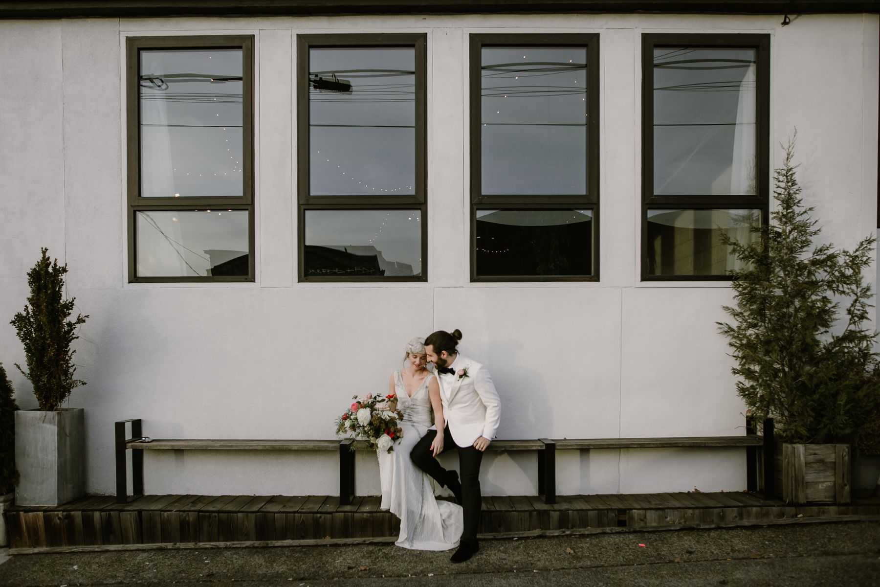 A bride and groom at their Union/Pine wedding in Portland, OR