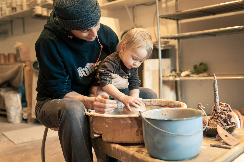 Alanna Hughes and Indigo Star on the pottery wheel