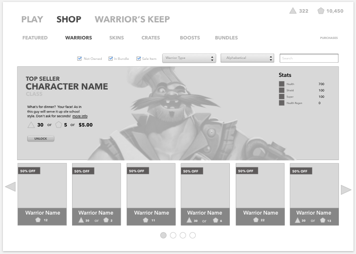 This basic wireframe would be easily ported over to not just character purchase, but weapon and chest offerings as well.
