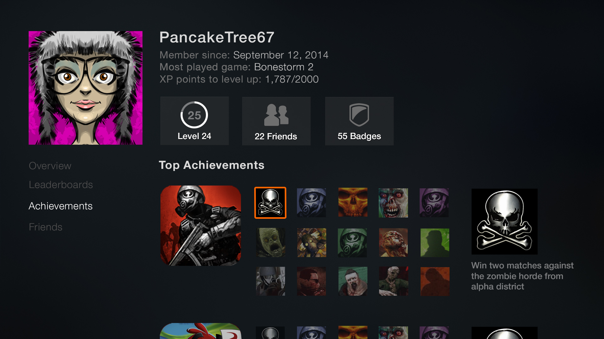 The achievements would scroll down to be as long as needed.