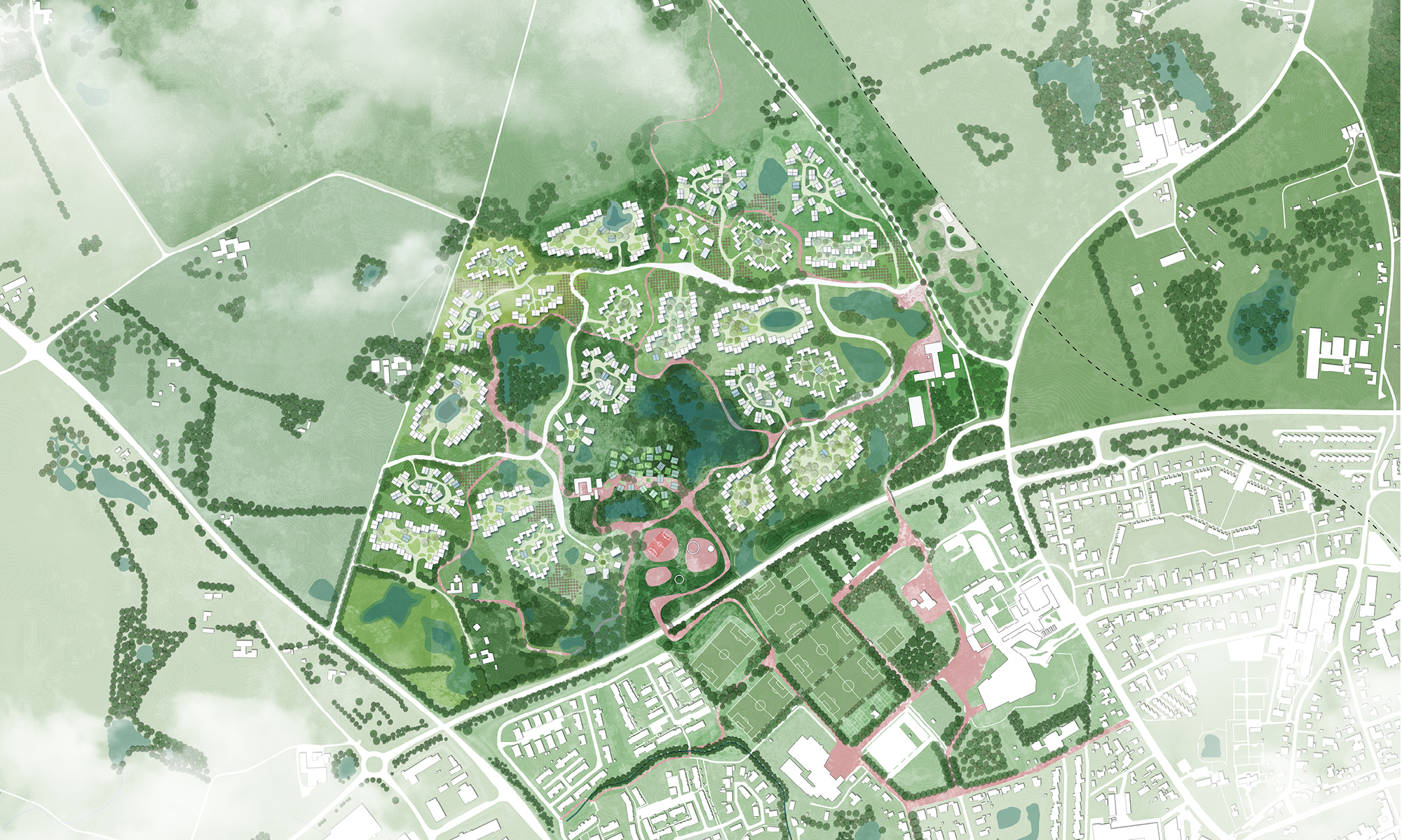 Helsinge Sharing Communities transforms the mono-cultural industrial farmland into the future home of 700 families,restoring biodiversity and providing a multiplicity of new activities.