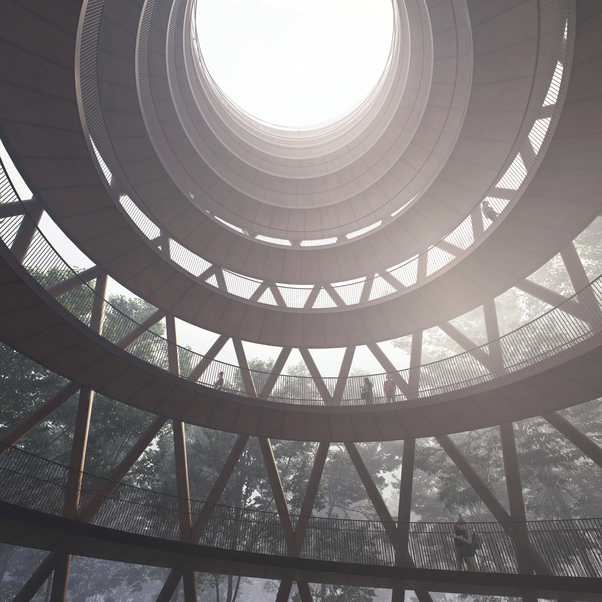 View of the central space of the observation tower