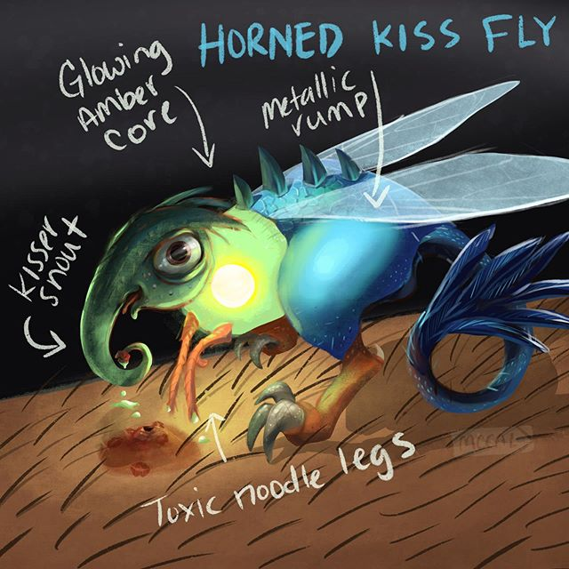 """Summer's only just started and I've had to beat these little guys away! Introducing the """"Horned Kiss Fly"""", the most devilish of the blood suckers. It'll lure you in with its amber glow and cheesy pick-up lines. 🦟🤓"""