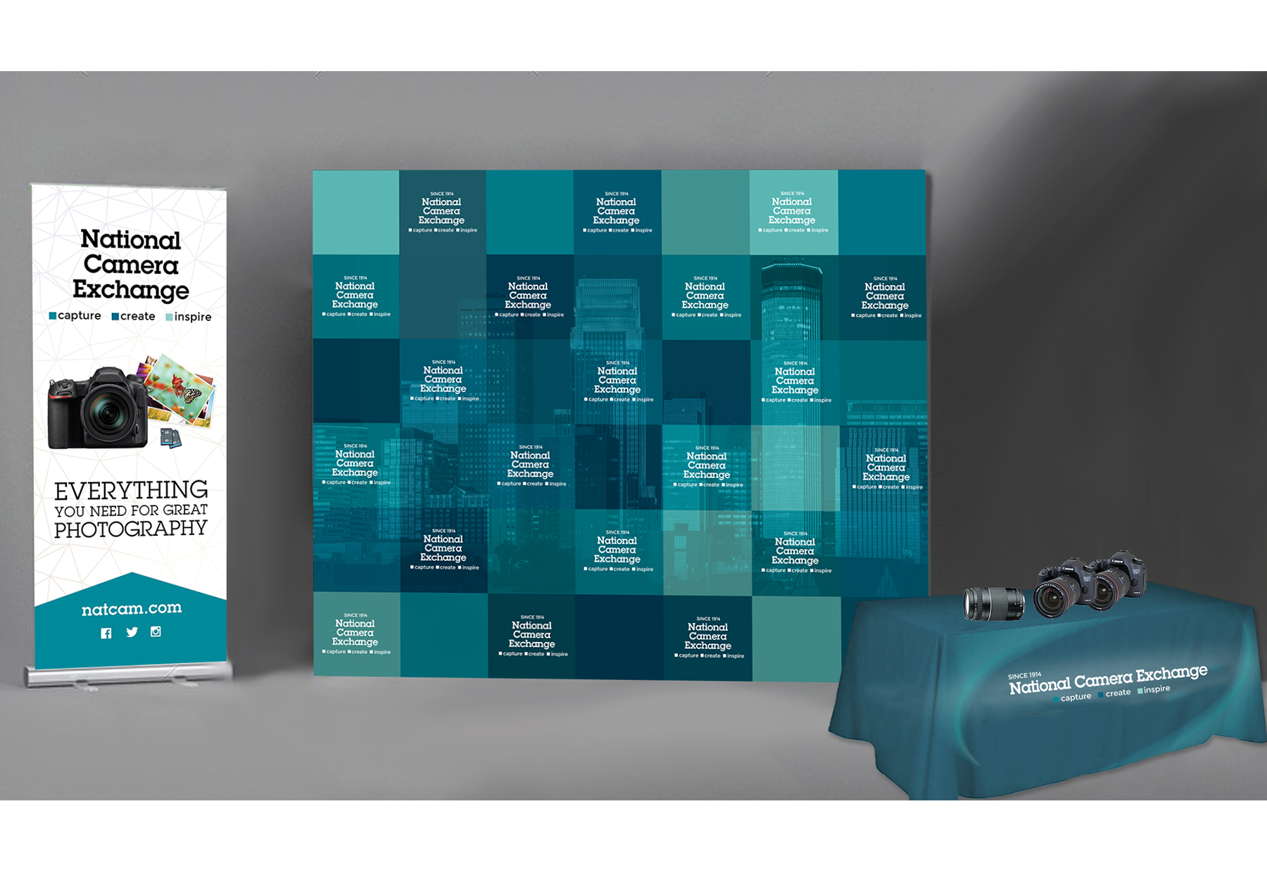 Branded Event Display - This branded backdrop was created for off-site events. The backdrop was also turned into large format clings to help spice up some of the empty wall space in the retail stores.