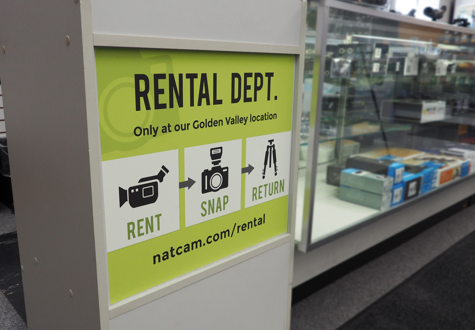 Store Signage - The green look was chosen from National Camera's color pallet in reference to recycling.