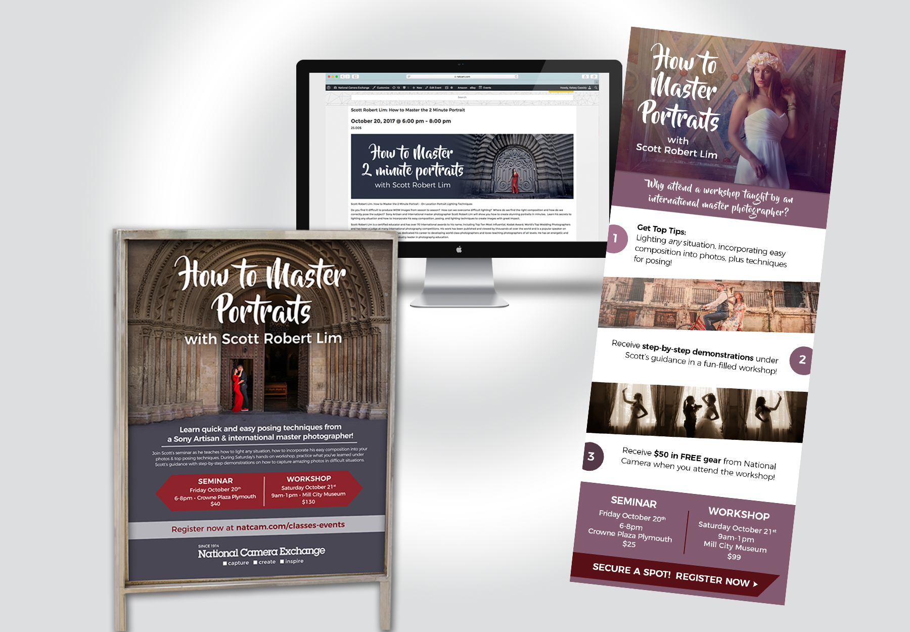 Specialty Events - The trick to promoting world-renowned photographers is to make their photographs SHINE in advertisements. These events were promoted through in-store signage, e-blasts and web banners.