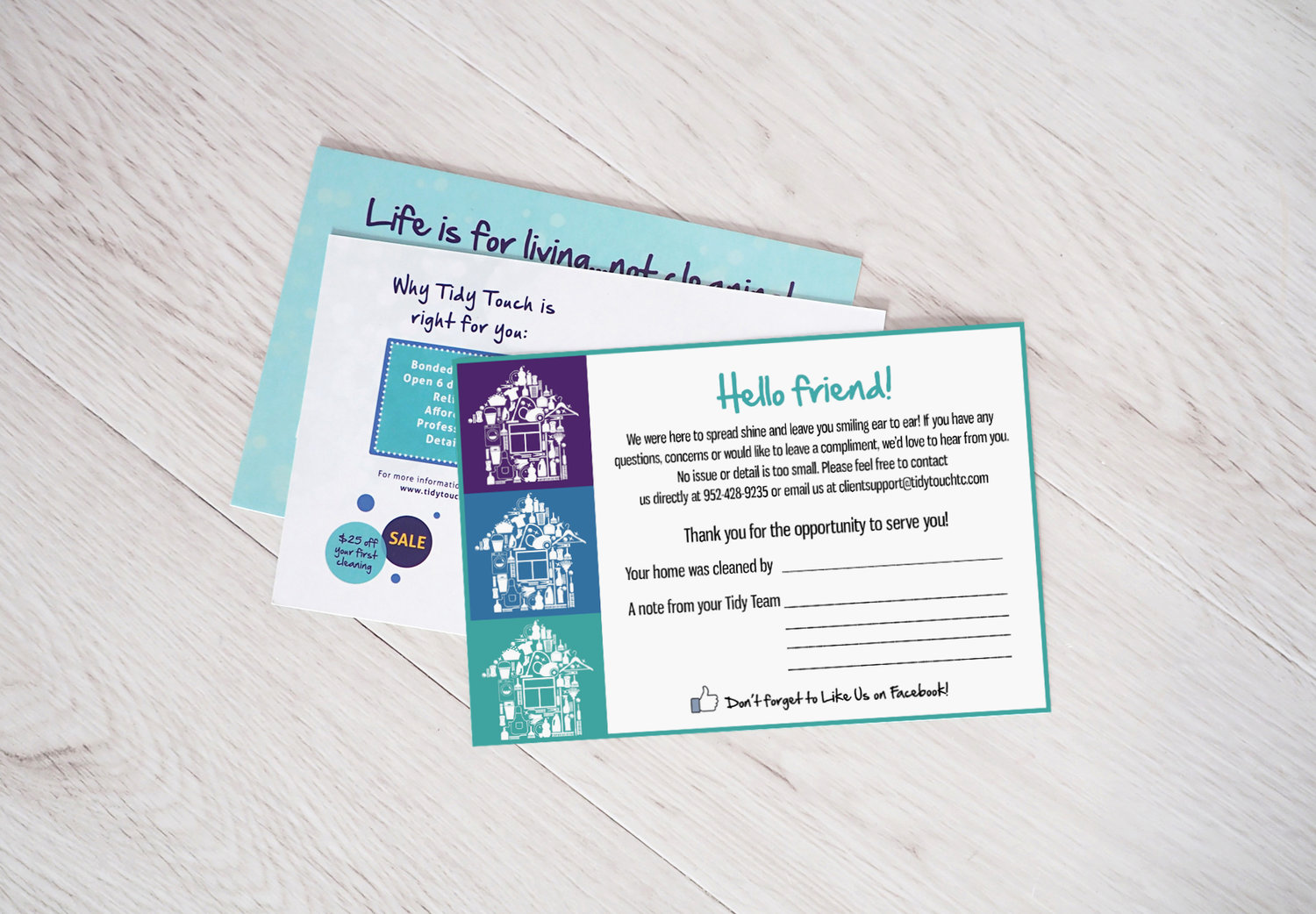 Postcards and Leave-Behinds - These pieces were created to help solve the problem of getting online reviews and ratings to help grow online booking.