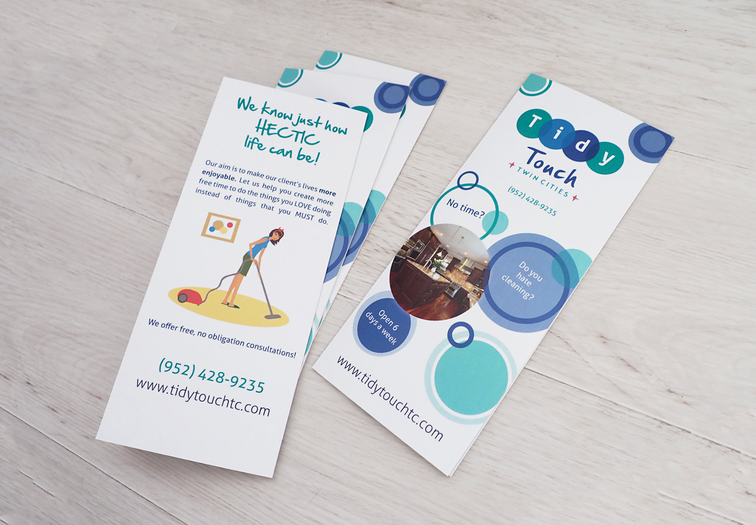 Informational Brochure - This is one of Tidy Touch's go-to printed pieces when going on a consultation visit. The design was kept clean and stuck with the bubble theme.