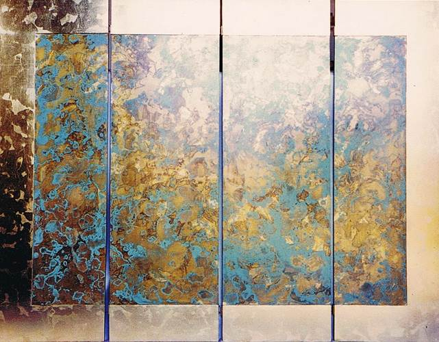 Wall mounted four panel screen. Chemically treated layers of metal leaf with pale green base colour.