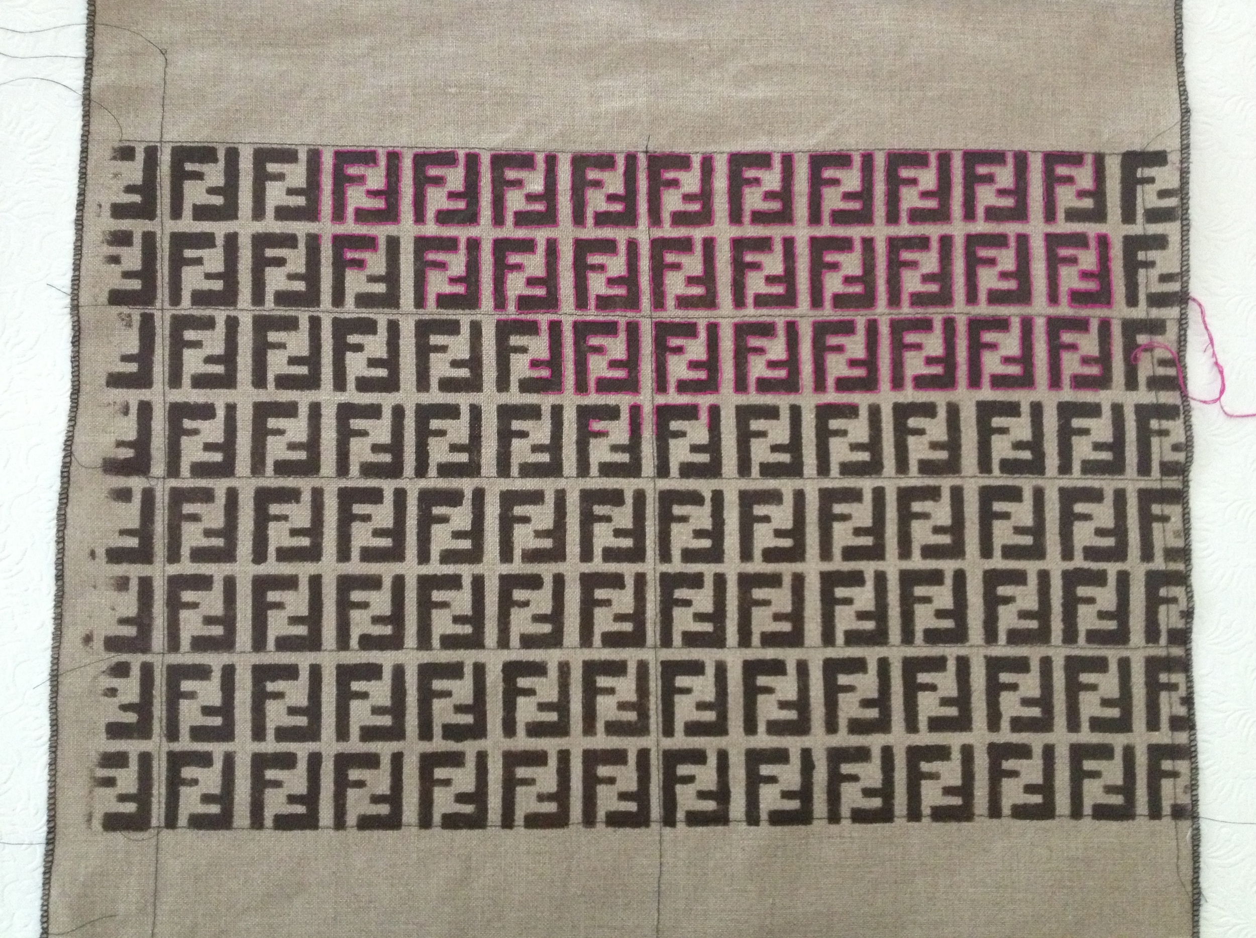 Belgian linen with painted stencil pattern, outlined with hot pink embroidery thread.