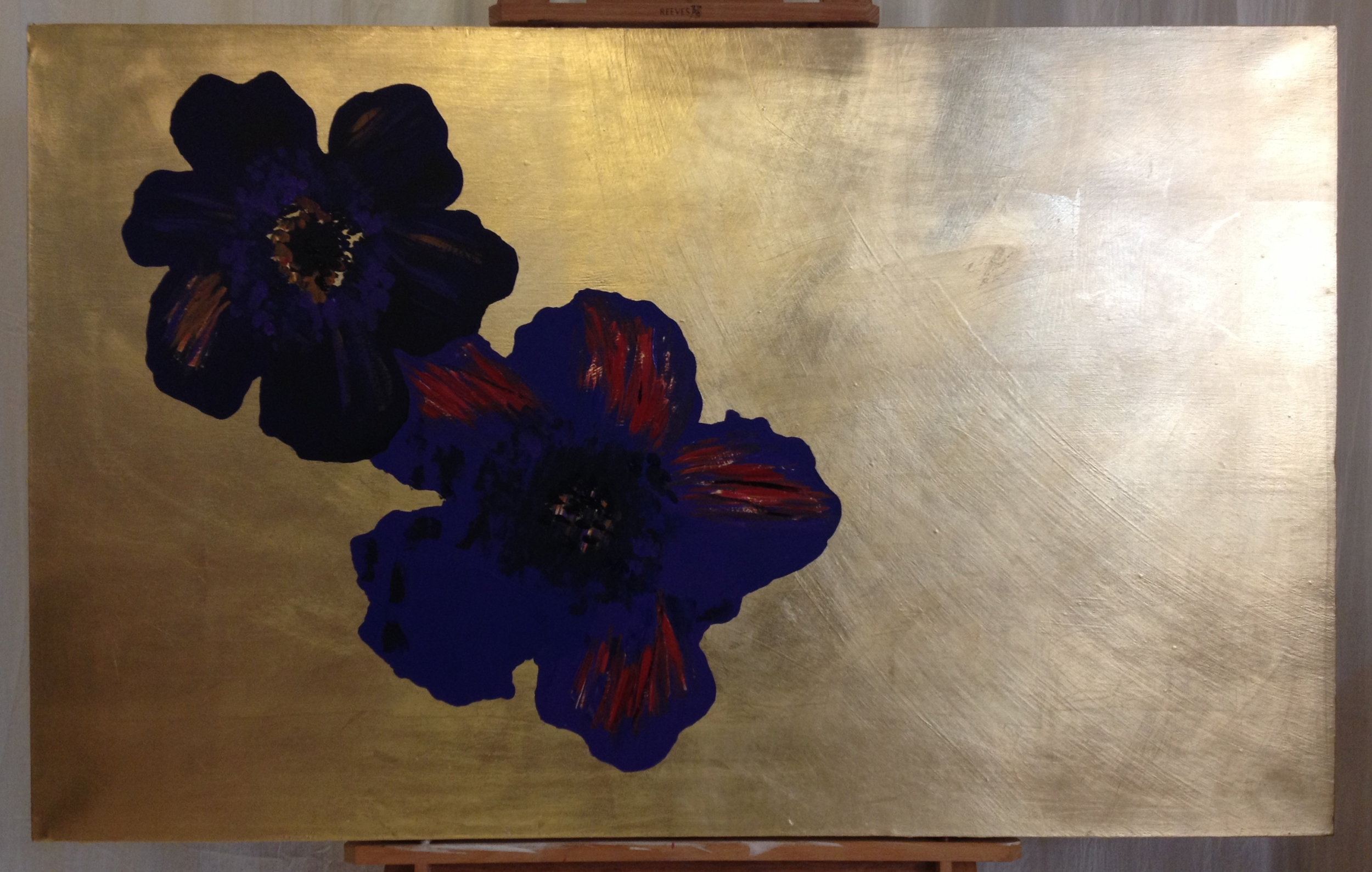 First, painting on the two blue flowers. Even though these will be largely covered over, I cant be certain precisely where, as placements can change as the piece is made. So I paint them in entirety, in detail.