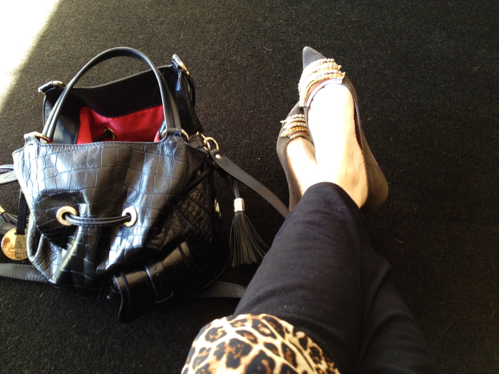 Style Arc, Elle Pant. Again. This time in black Ponti, worn with vintage Leopard print shift. Missoni shoes (mmmmmMissoni) and Lancel handbag.