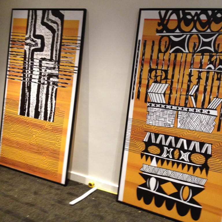 Framed prints on canvas ready for installation on site.
