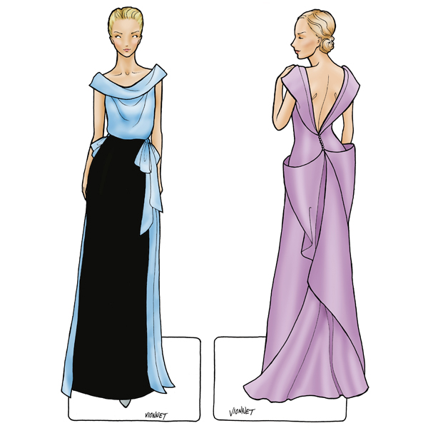 """""""...inspired by Madeleine Vionnet, is a departure from paper doll conventions – a back view. Vionnet's work was created by draping on a small wooden mannequin, and as a designer she very much conceptualized a total look in 360 degrees.""""  Final Fashion."""