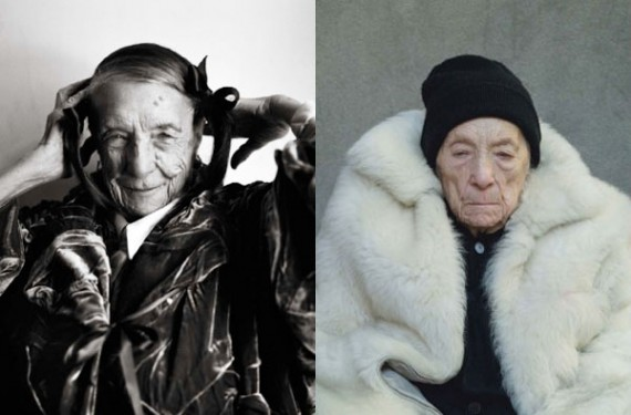 """Louise Bourgeois by  Annie Leibovitz . """"Fashion always played a dominant role in the life of the celebrated sculptor, particularly during the last decade of her life, when she created a series of fabric """"drawings"""" assembled from her personal collections of sheets, towels, discarded clothes and similar material. Portraits of Bourgeois clearly demonstrate that she knew a thing or two about textiles and that she cherished them: velvet, thick cotton and linen constantly re-appeared in her bold, versatile wardrobe.""""  Source"""