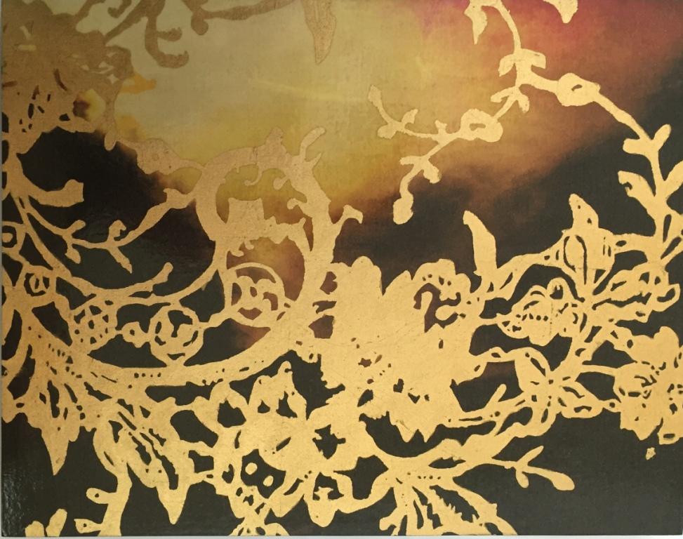 Gold metal leaf applied detail