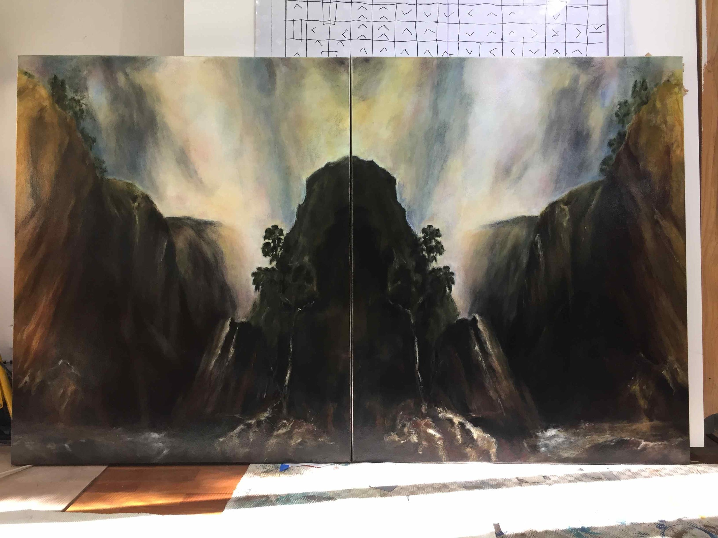 """The full title of this piece has """"after Conrad Martens'  Denn's Falls, Tia River""""  added to it because thats the souce image & I've taken considerable liberties with it"""