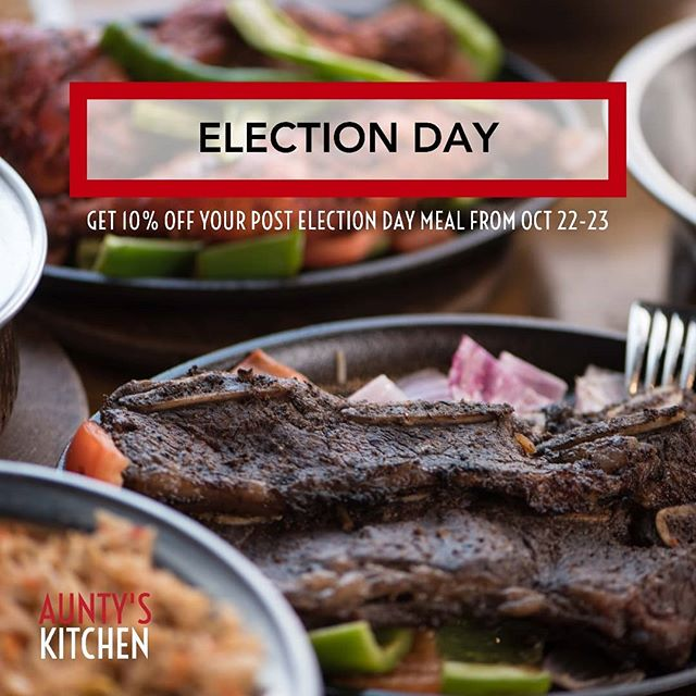 "🇨🇦🇨🇦 Join us tonight for a post election day dinner and use the promo code ""I voted"" to get 10% off your meal. 🇨🇦🇨🇦 The promo is running all day tomorrow!  This promo only applies to in-store orders, and excludes catering/delivery orders.  #AuntysKitchen #Elxn43"