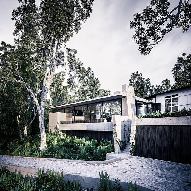 @auhaus #boulevardhouse - a brutalist concrete addition to an existing modernist house