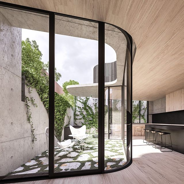 @auhaus #barbicanhouse A tiny pocket site on a cobbled laneway. A concrete perimeter wall encases the site, opening up to carved interior and courtyard spaces.