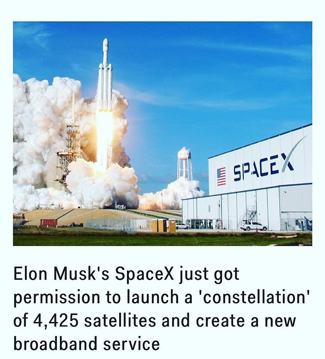 """Want 1 Gbps Internet? 🛰 """"This is the first approval of a U.S.-licensed satellite constellation to provide broadband services using a new generation of low-Earth orbit satellite technologies. #SpaceX proposed a satellite system comprised of 4,425 satellites and was granted authority to use frequencies in the #Ka (20/30 GHz) and #Ku (11/14 GHz) bands to provide global Internet connectivity,"""" the #FCC said in a statement.  Share from @businessinsider"""