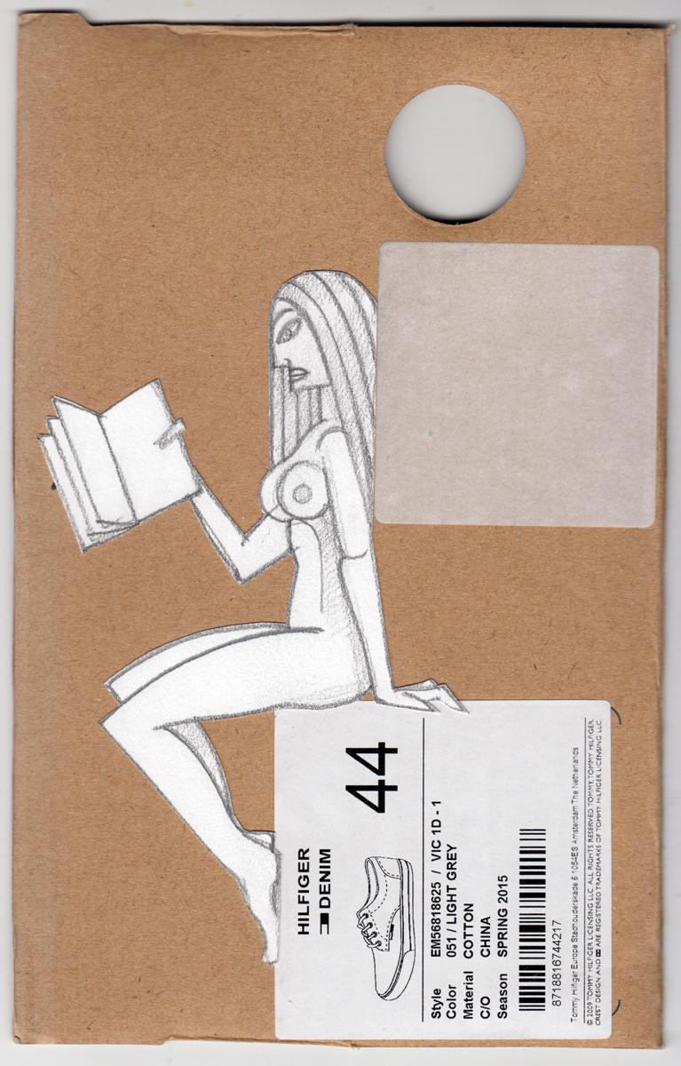 pencil drawing, mounted on cardboard