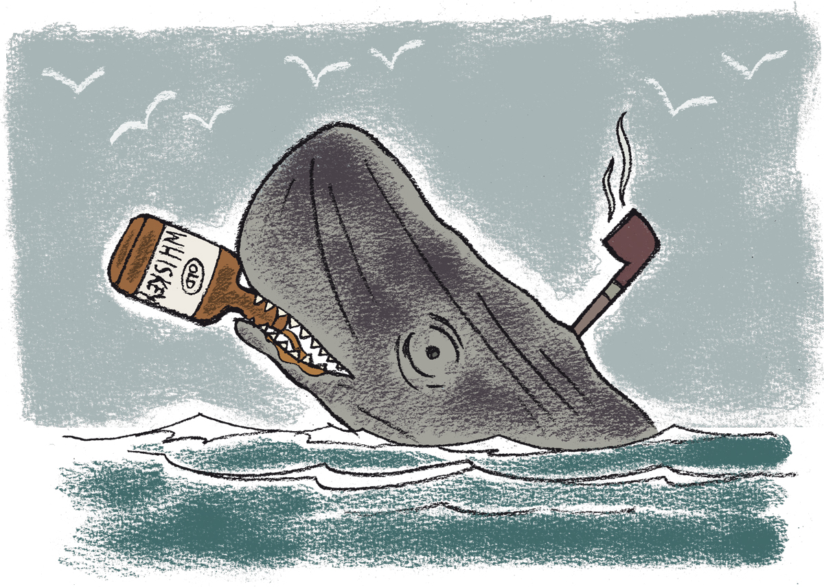 Whales can drink and smoke at the same time  Pencil on paper, digital coloring and rendering