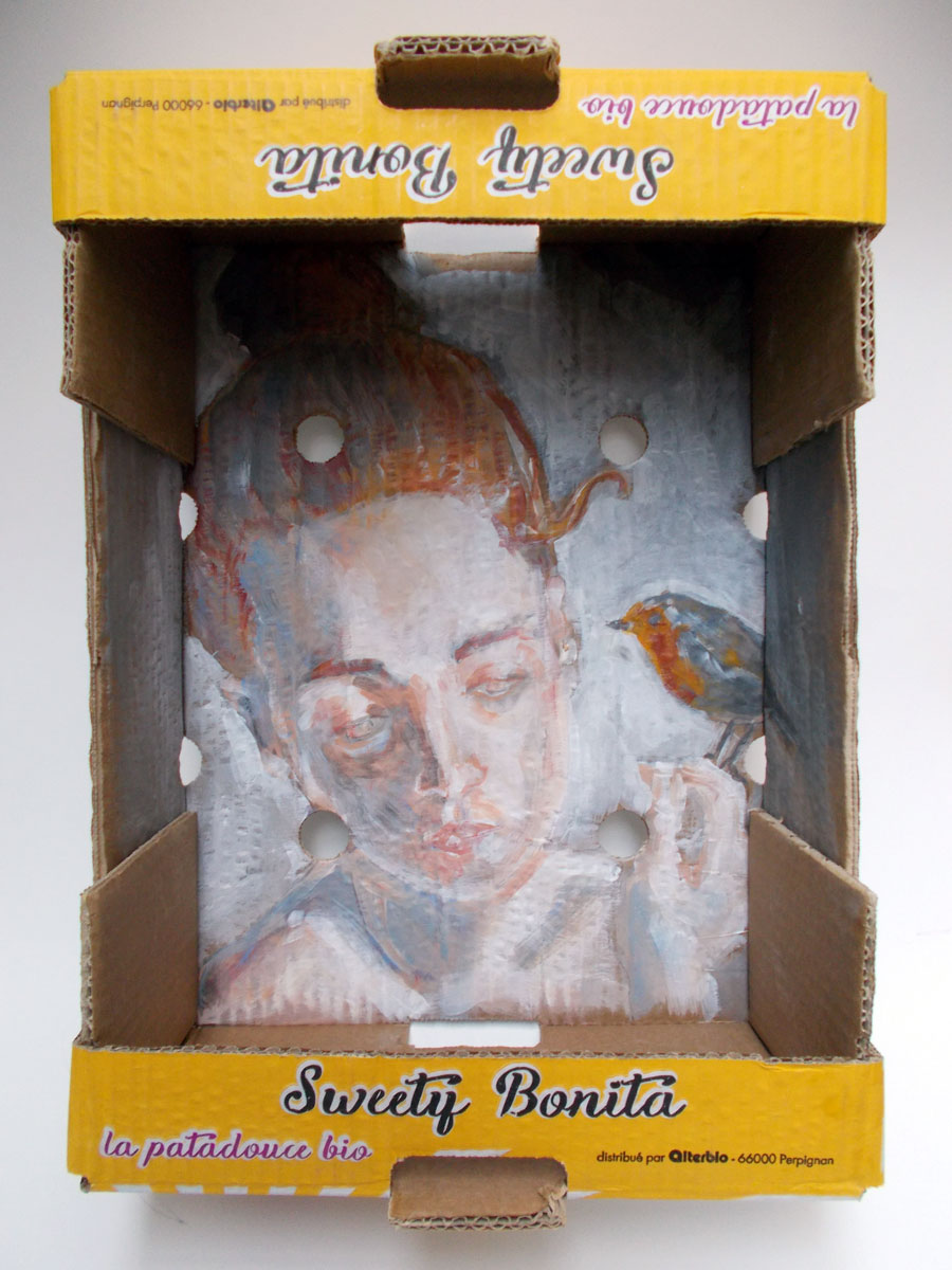 Acrylic paint on cardboard box - 39,5 x 29,5 x 14 cm