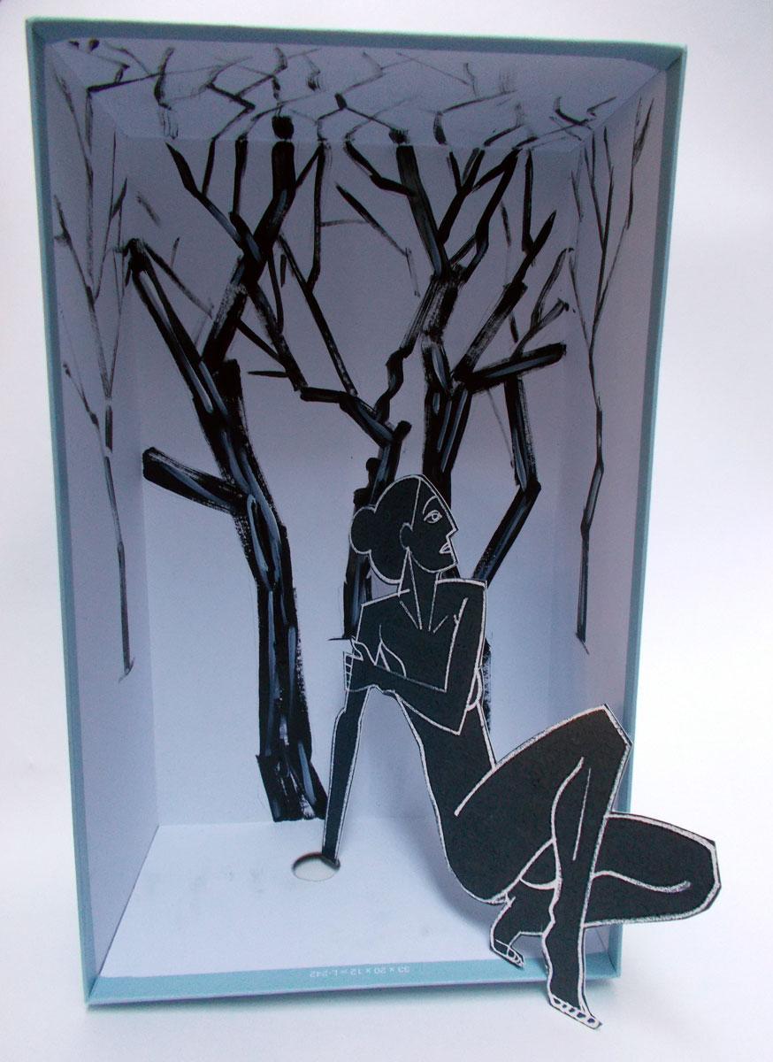 Pencil on paper, acrylic paint, shoebox