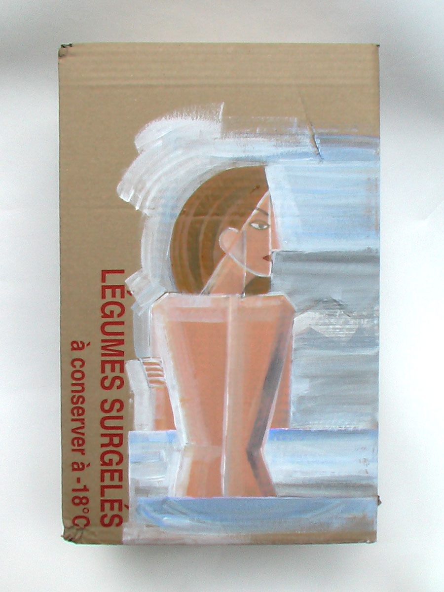 Acrylic paint on cardboard box 39 x 25 x 26cm