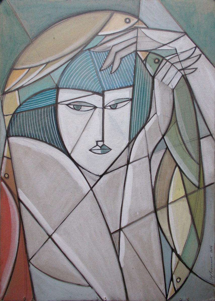 Pencil, aquarel & gouache on found cardboard, 41,,5 x 30 cm
