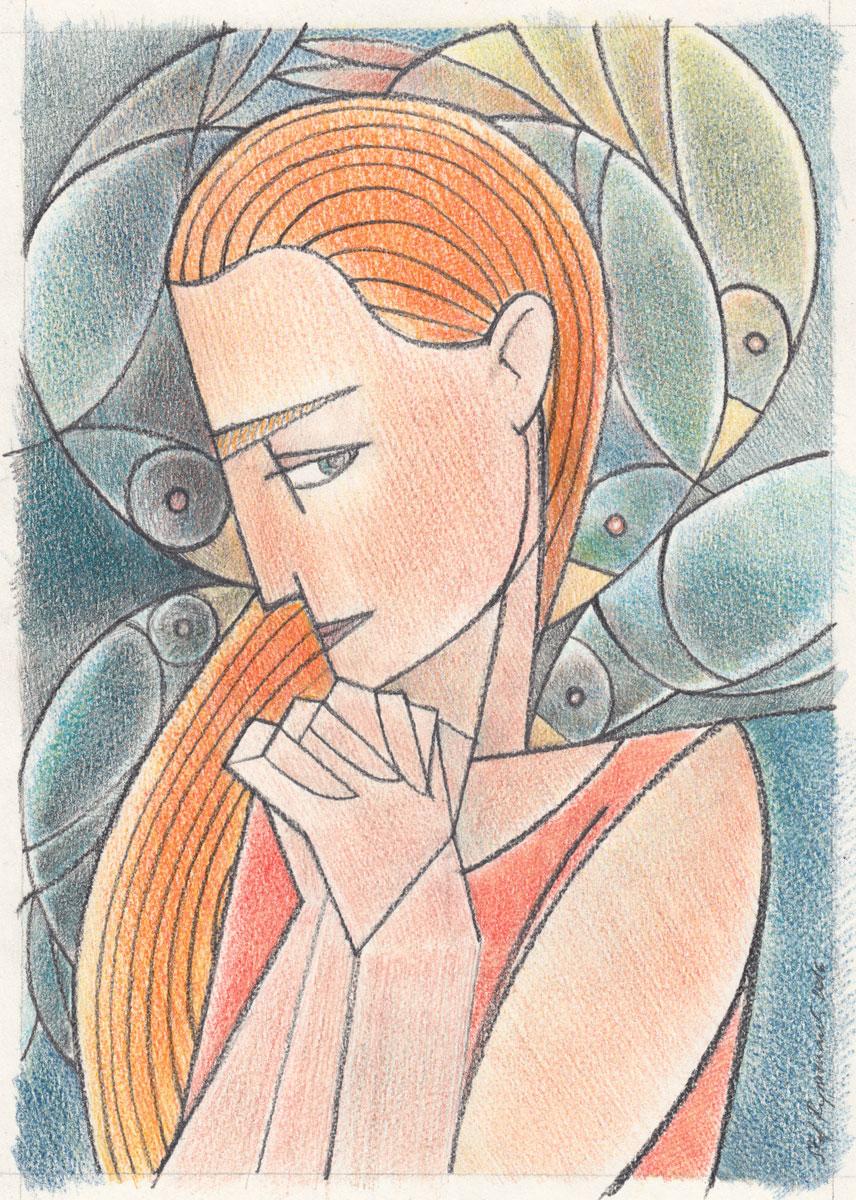 Pencil & pastel on paper, 15 x 21 cm