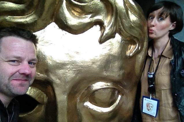 Nicola Redman Irish Voice Actor with Giant BAFTA