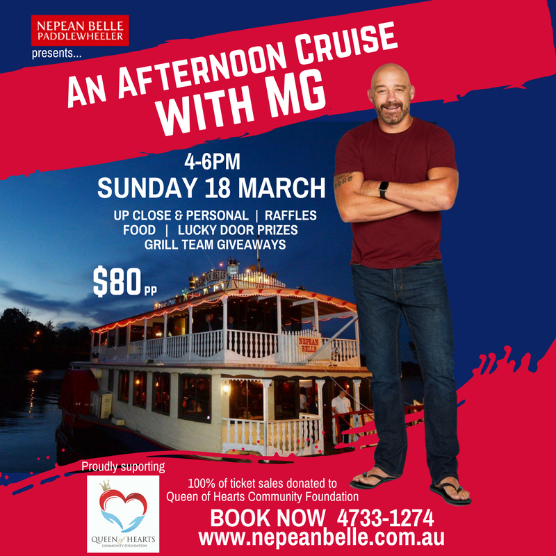 MG Mark Geyer Fundraising Cruise Nepean Belle Queen of Hearts Community Foundation